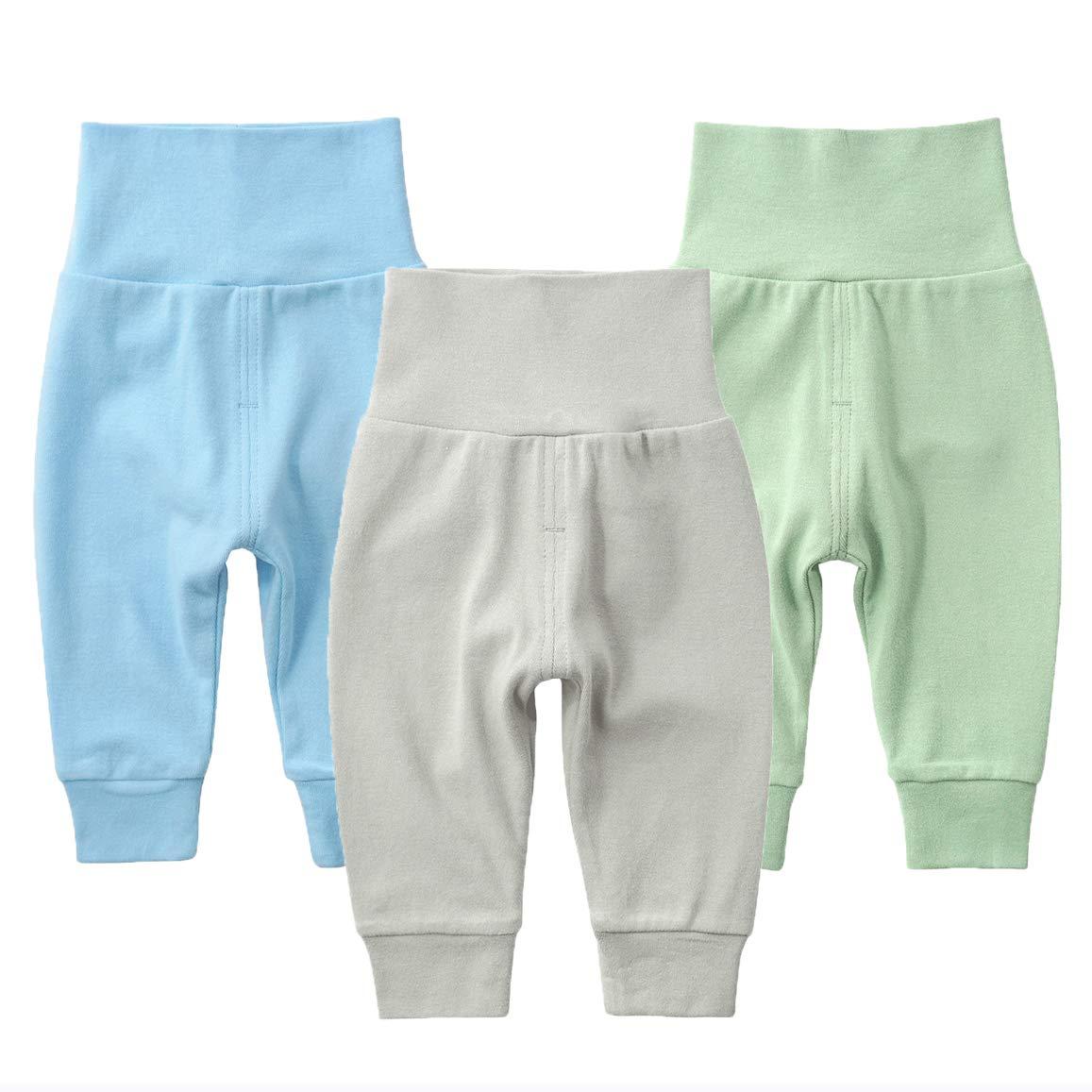 SYCLZ Baby 3-Pack Cotton High Waist Pants Soild Color Casual Leggings 0-24M