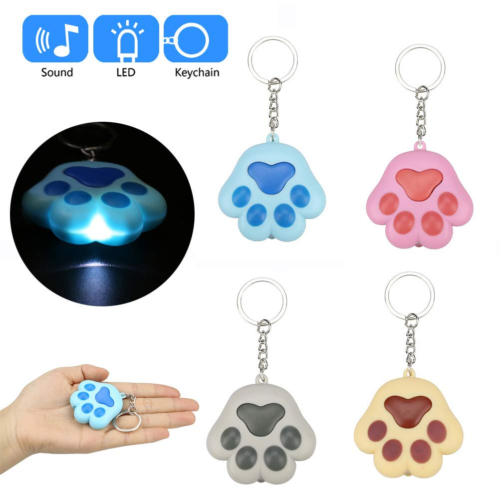 Glumes Cute Cat's Paw Keychain with LED Flashlight and Sound Effects 3D Cute Cartoon Key Holder For Children Designer Key Ring for Kids Christmas Thanksgiving Gift 1 PCS (Blue)