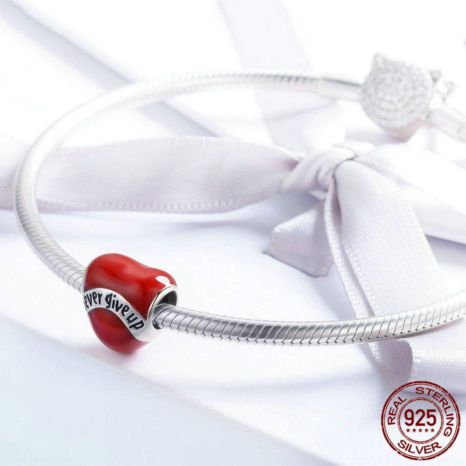 MMC Silver Red Heart Beauty Charm Never Give Up Luxury Beads Bracelets