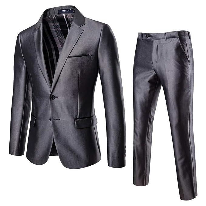 Amazon.com: Chaqueta Blazer de 2 piezas para hombre con ...