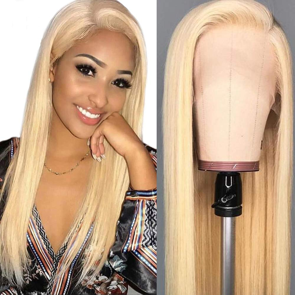 Hot Star 613 Blonde Human Hair Wigs 13x4 Lace Front Wigs for Women Brazilian Straight Human Hair Wigs Pre Plucked Hairline Free Part 150% Density (24 Inch)
