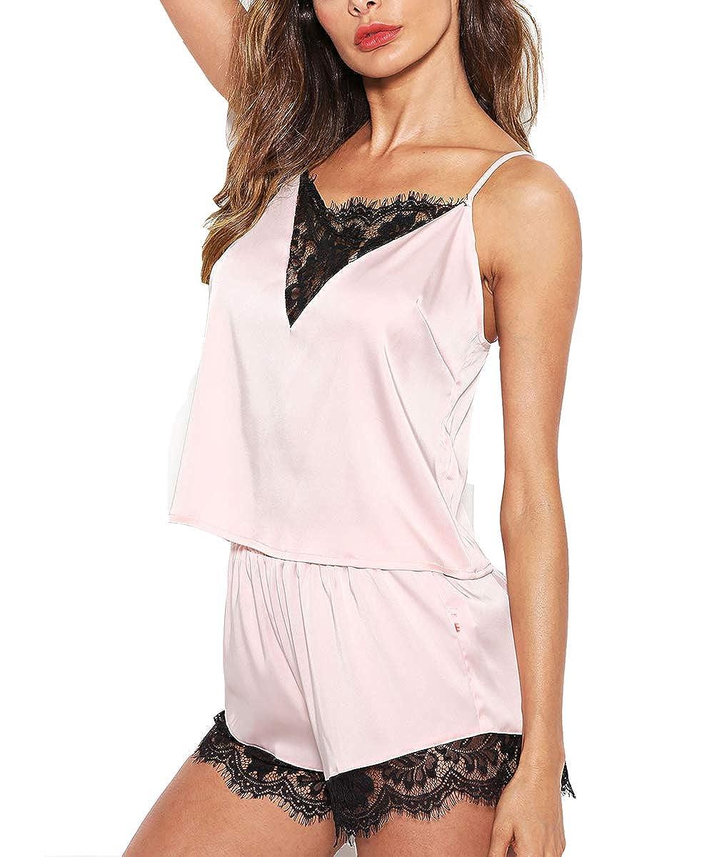 6e3ba9d892c3f ZHENWEI Womens Silk Sleepwear Satin Cami Shorts Sexy Nighty Pajama Sets  Lace Lingerie S-2XL at Amazon Women s Clothing store