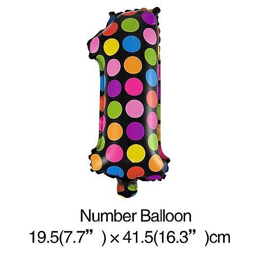 VANKER 1pc número 1 globo colorée puntos Bon cumpleaños ...
