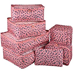 Vercord 7 Set Travel Packing Organizers Cubes Mesh Luggage Cloth Bag Cubes With Bra/Underwear Cube and Shoe Pouch, Pink Leopard