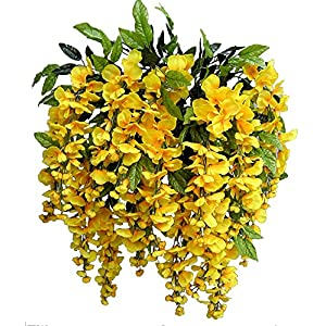 Artificial Wisteria Long Hanging Bush Flowers - 15 Stems For Home, Wedding, Restaurant and Office Decoration Arrangement, Dark Yellow 51