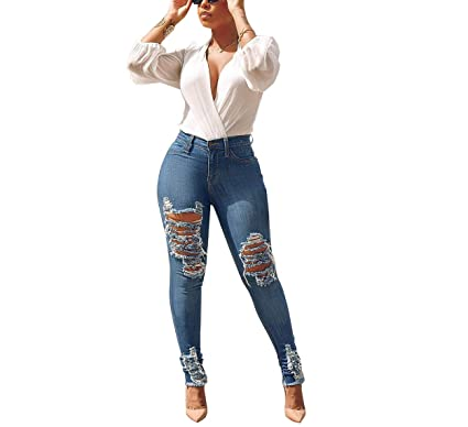 3250bc6aa57549 Women's High Waist Stretch Ripped Skinny Jeans Hand Sanding Washed Distressed  Denim Pants at Amazon Women's Jeans store