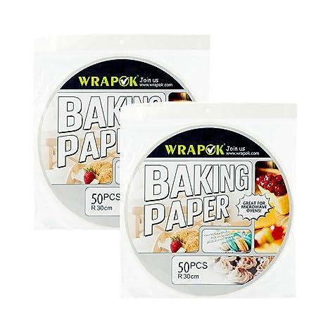 Wrapok 12 pulgadas de pergamino redondo Perforated Bamboo Steamer Liners de papel 100 Count Non-