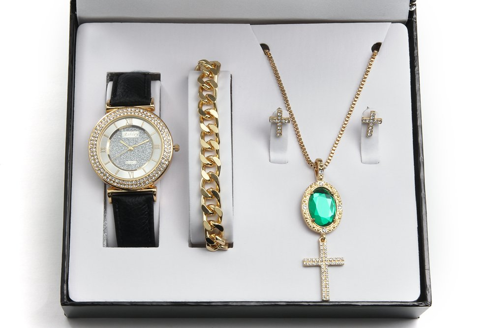 Emerald Pendent Iced Out Cross Necklace, Earrings, Gold Bracelet & Ladies Blk Band Watch - CR7936 Emerald