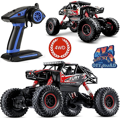 Remote Control Trucks with Full-Time 4-Wheel Drive System, PinSpace Electric RC Car 1:16 Scale Off Road Truck with 4 Individual Shock Absorbers, 2.4GHz Controller for Kids Ages 8 Years and Up -