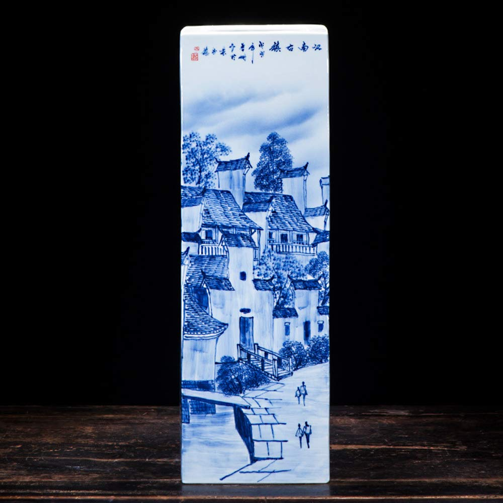BANCHELLE Umbrella Stand Umbrella Racks Umbrella Holder Blue and White Porcelain Vase Handmade and Hand Painted (Blue and White, 6.5 × 6.5 × 19.3 Inches) by BANCHELLE (Image #3)