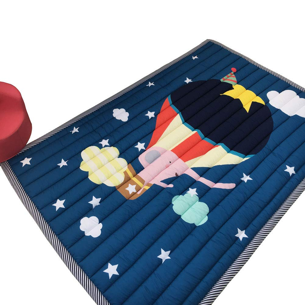 Prula Play Mat Non-Toxic Kids Play Mat 76'' x 57'' Large Rectangle Crawling Mat Floor Mat for Toddlers Non-Slip Activity Tummy Time Hot Air Balloon