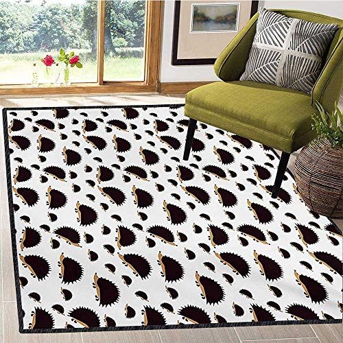 Hedgehog, Bath Mats for Floors, Disorderly Pattern with Repetitive Cartoon Porcupine Characters, Door Mats for Inside 5x8 Ft Seal Brown Pale Brown White ()