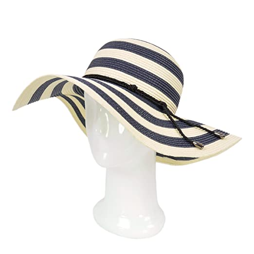 Women s Elegant Floppy Wide Brim Striped Straw Beach Sun Hat ee97a24f4556