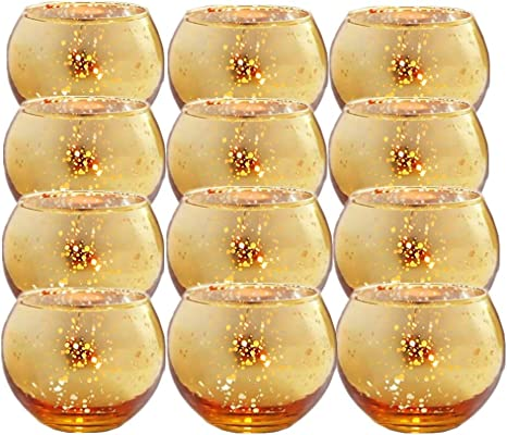 Gold Glass Tealight Holders Mercury Candlestick Candle for Weddings Parties Home Office Decoration OSALADI 5pcs Glass Votive Candle Holder