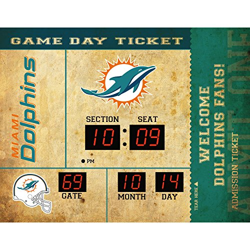 Miami Dolphins Team Colors - Evergreen NFL Miami Dolphins 14X19 Scoreboard, Team Colors, One Size