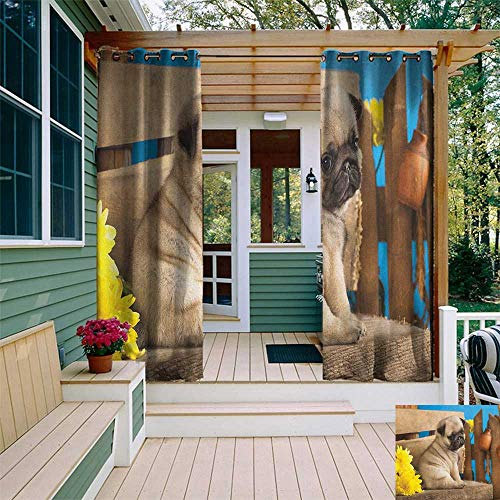 leinuoyi Pug, Outdoor Curtain Extra Wide, Adorable Puppy Photography with Sad Dog and Wildflowers on a Park Bench, Fabric by The Yard W120 x L108 Inch Pale Brown Yellow Blue ()