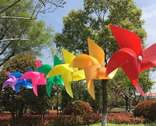 Molinillos de viento para jardines, terrazas, balcones y como bonito juguete para niños, 10 unidades: Amazon.es: Jardín