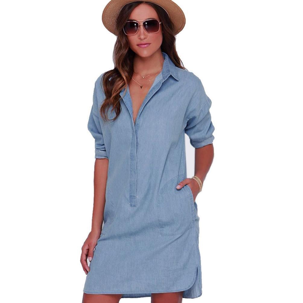 Gillberry Women Long Sleeves Denim skirt Cowboy Dress (M) by Gillberry