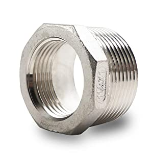 Horiznext npt 1-1/4to1 reducing bushing, male to female reducer stainless steel 304