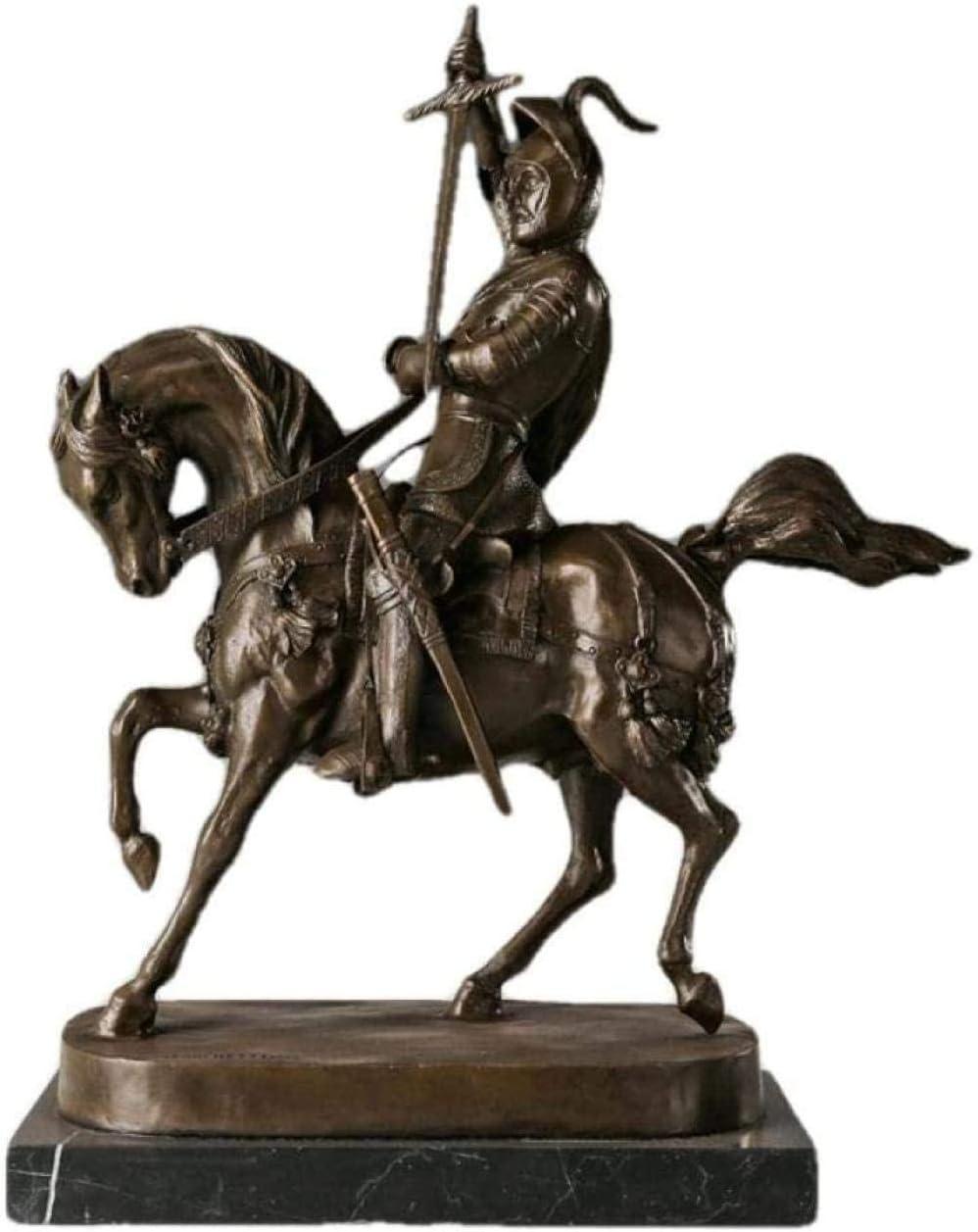 FTFTO Equipo de Vida Escultura Decoración Figuras coleccionables Regalos artesanales Montar a Caballo Medieval Bronce común Estatua de Soldado Antiguo Guerrero Cobre