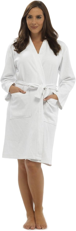 CityComfort Bata de algodón Puro Bata de Mujer Gofono Kimono Ligero para Mujer Traje