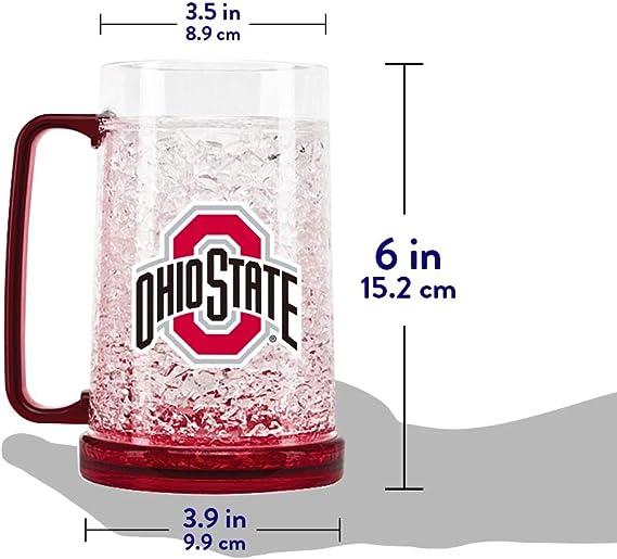 17.5 oz Clear Set of 2 University Glass NCAA Ohio State Buckeyes Maxim Mug