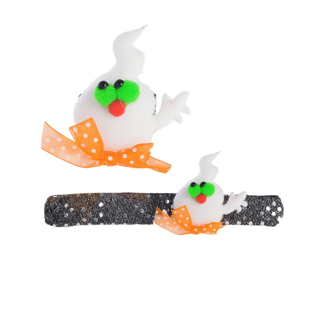 Slap Bracelets Halloween Props,VIASA Halloween Cartoon Pumpkin Hand Ring For Children (F)