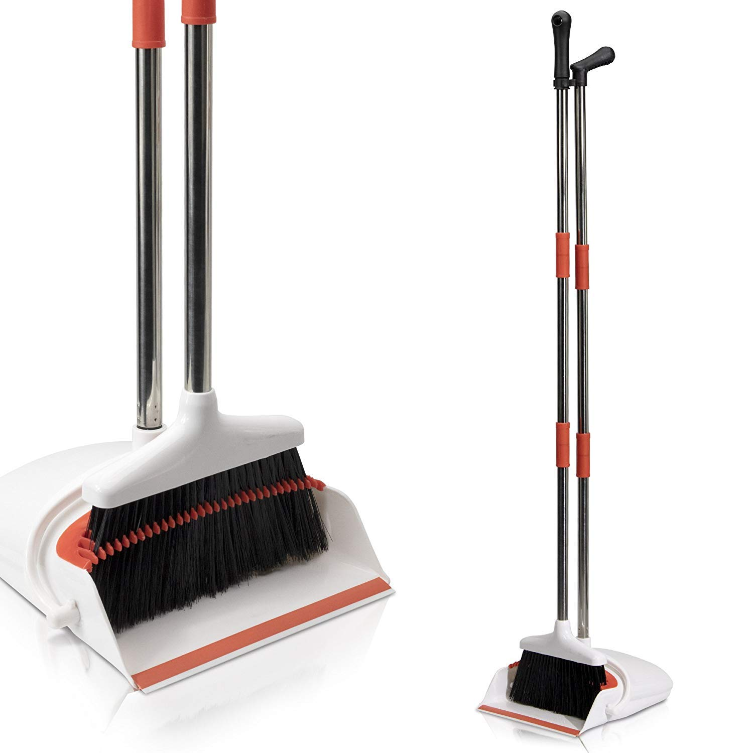 Primica Broom and Dustpan Set - Self-Cleaning Broom Bristles - Ideal Kitchen, Home and Lobby Broom and Dustpan Combo - Premium Brush, Wisp and Dust Cleaner by Primica