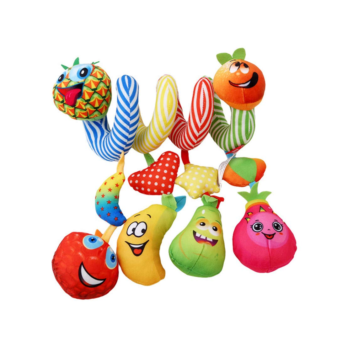 Jixing Pineapple Fruits Baby Spiral Activity Toy Spiral Wrap Around Crib Bed Bassinet Stroller Rail Toy with Handbell Music