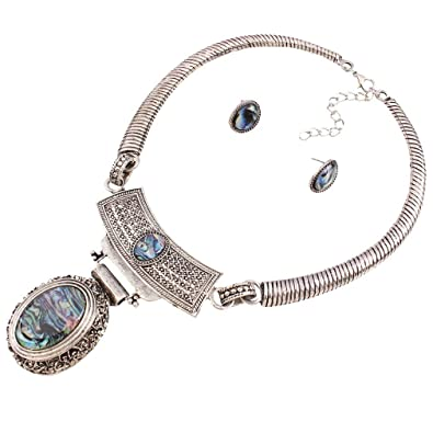Yazilind Silver Plated Resin Drop Pendant Chunky Choker Collar Necklace with Earrings Set for Women uBzx9