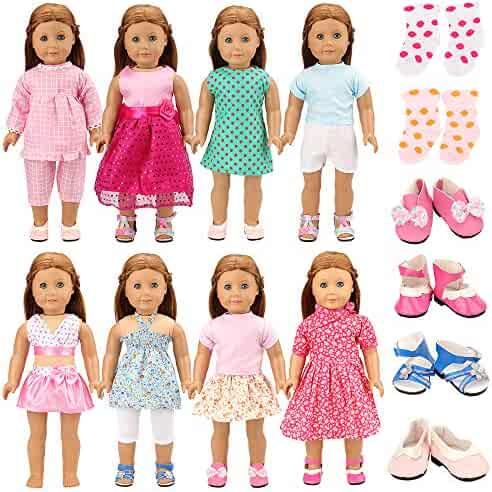 22e81c4f307 BARWA 18 Inch Doll Clothes 8 Sets Doll Clothes with 2 Pairs of Shoes 2 Socks