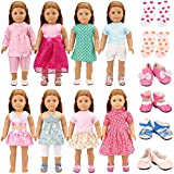 BARWA 18 Inch Doll Clothes 8 Sets Doll Clothes with 2 Pairs of Shoes 2 Socks Casual Outfits Party Dress Compatible with American Girl Doll Clothes and Other 18 Inch Doll Clothes Xmas Gift