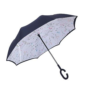 Paraguas invertido, CONMING Duplicado a prueba de viento de doble capa de par en par