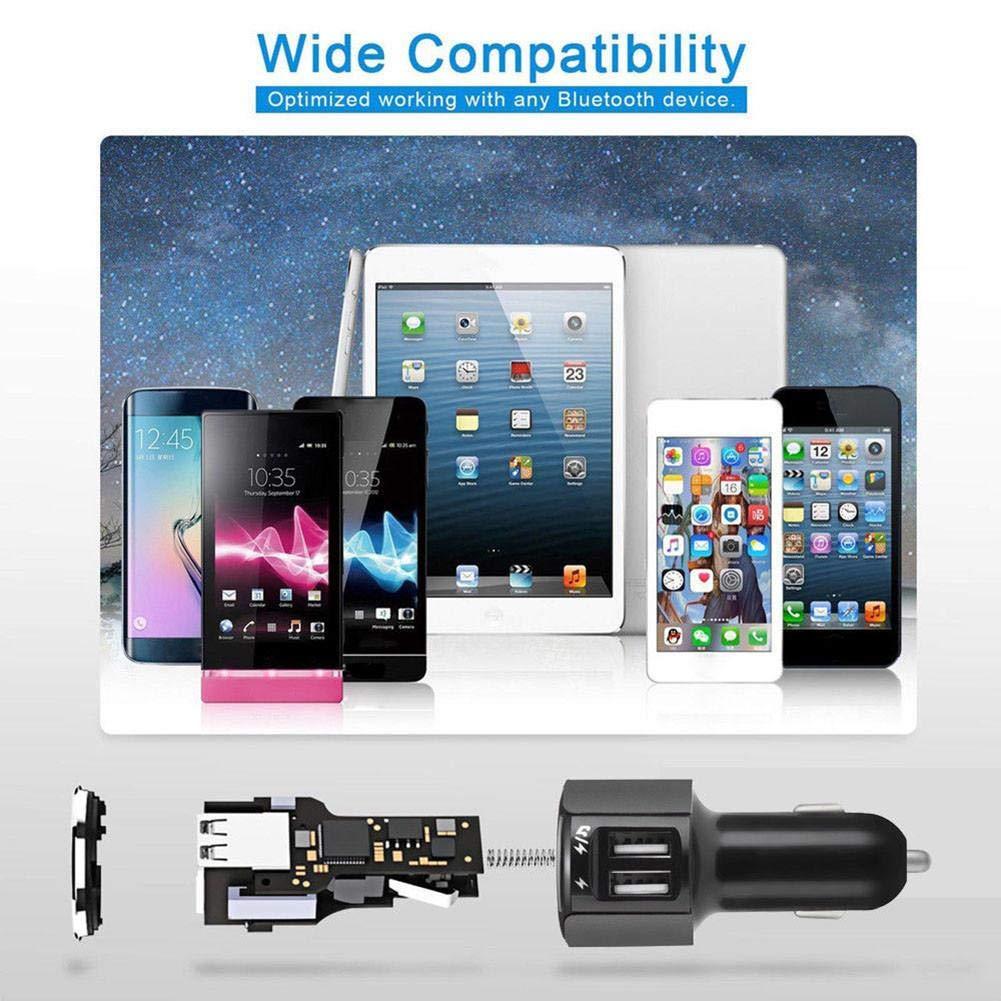 Comprim/és Etc Le Disque U nest Pas Inclus FM Transmetteur Bluetooth Kit De Voiture sans Fil Mains-Libres Adaptateur Radio Voiture Lecteur Mp3 Charge Rapide 2ports,LG,Smartphones HTC