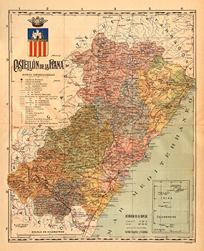 castellon-de-la-plana-comunitat-valenciana-mapa-antiguo-provincia-martin-c1911-old-map-antique-map-v