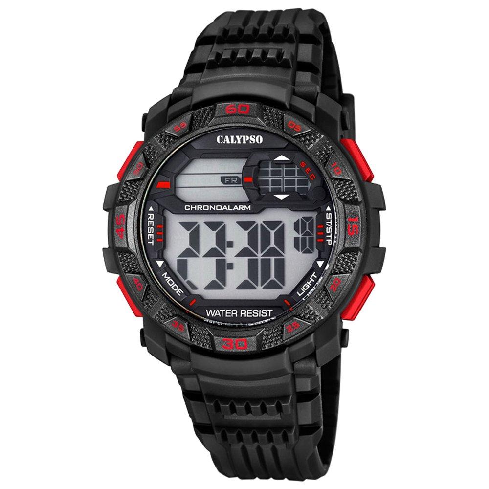 Calypso de hombre reloj de pulsera Sport Digital PU de pulsera Negro Reloj de cuarzo esfera negro rojo uk5702/5
