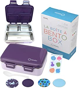 Stainless Steel Bento Insulated Lunch Box for Kids Toddler Girls, 3 Eco Metal Portion Sections Leakproof Lid, Pre-School Kid Daycare Lunches and Snack Container Ages 3 to 5 Purple