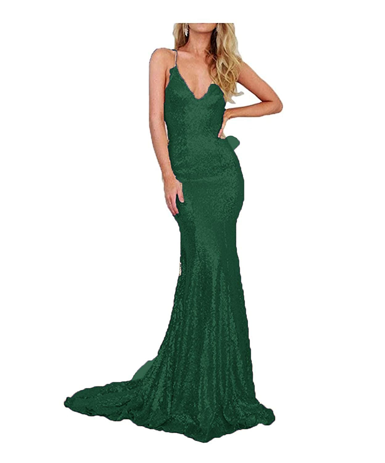 Dark Green liangjinsmkj gold Sequin Mermaid Prom Dresses V Neck Evening Gown Long Backless