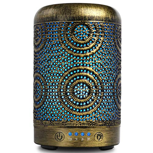 ARVIDSSON Best Essential Oil Diffuser, 100ml Premium Metal Ultrasonic Diffusers for Essential Oils, Cool Mist Humidifier with 7 Color Changing Light ()