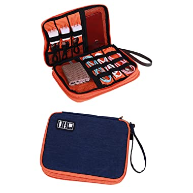 LY-LONGER Travel Cable Organizer Universal Electronics Accessories Cases, Storage Bag for Hard Drives, Cables, Charger, Phone, Adapter (Large)
