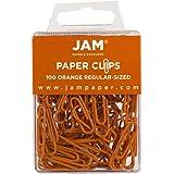 JAM Paper® Paper Clips - Regular 1 Inch Paperclips - Orange - 100 Paper Clips per Pack