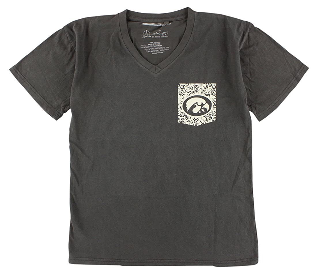 e52ca3f6c Press Box Womens Iowa Hawkeyes College Lace Logo V Neck T Shirt Dark Grey  at Amazon Women s Clothing store