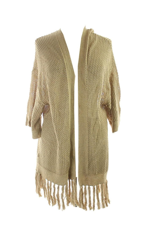 Ralph Lauren Womens Cotton Fringe Cardigan Sweater Tan M