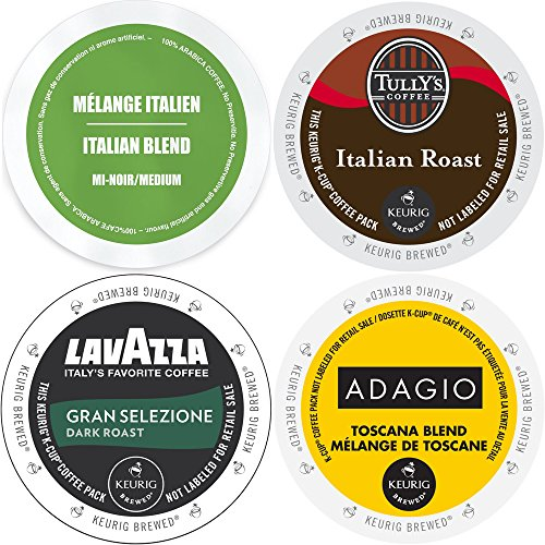 Italian Roast K-Cup Variety Pack, Keurig 2.0 K Cup Coffee Sampler with Adagio Toscana Blend, Faro Italian, Lavazza Gran Selezione & Tully's Italian Roast Extra Bold, Keurig 2.0 K-Cups (96 Count)
