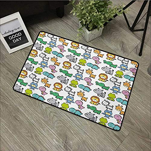 - Outdoor door mat W24 x L35 INCH Doodle,Cartoon Style Animals Lion Zebra Frog Dinosaur Crocodile Bat Rhino Fun Illustration,Multicolor Natural dye printing to protect your baby's skin Non-slip Door Mat