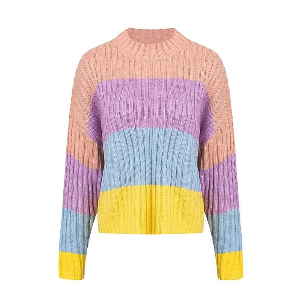 FUHENGMY Pullover Fahsion Maccaron Regenbogenstrickjacke Elegante Fledermausärmel Winterfrauen Strickpullover Pullover Herbst Süße Pullover