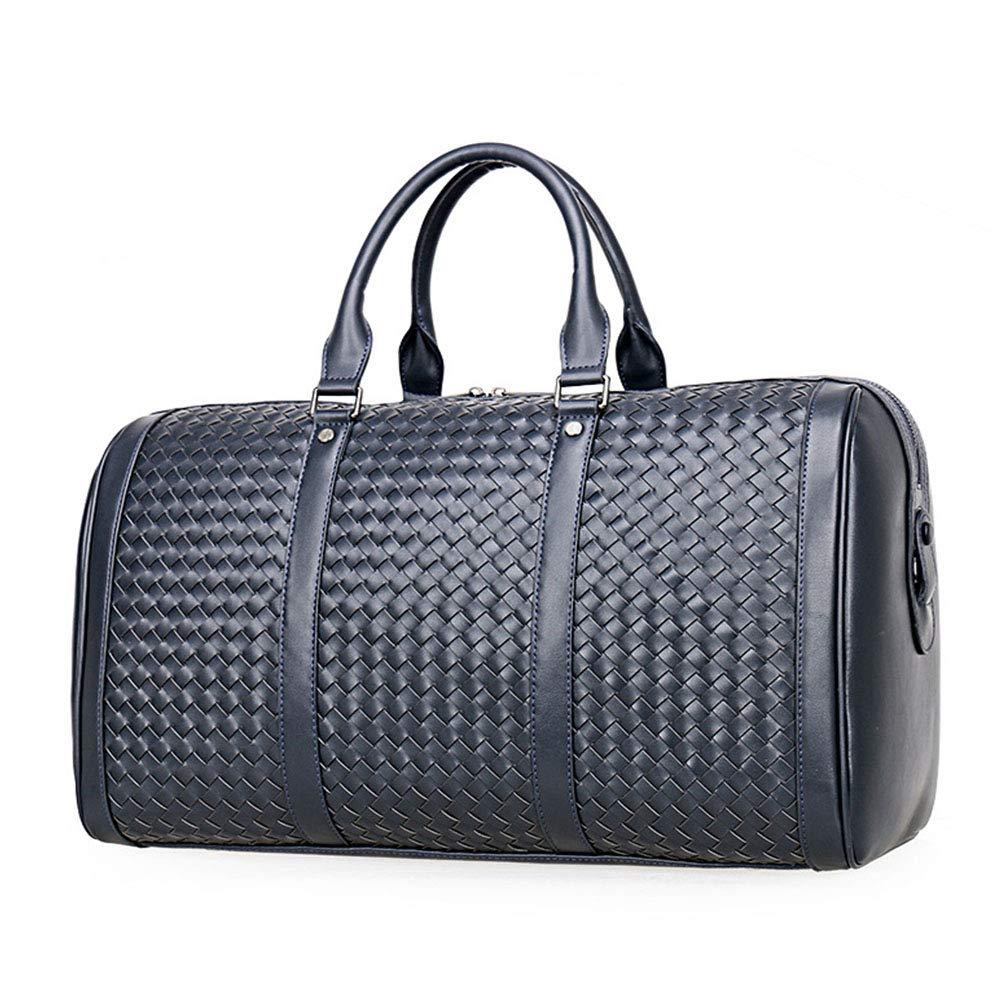 本革旅行バッグ男性ダッフルバッグ荷物旅行織りバッグ大男性革ダッフルバッグトートバッグ  Blue B07MHHQNVV