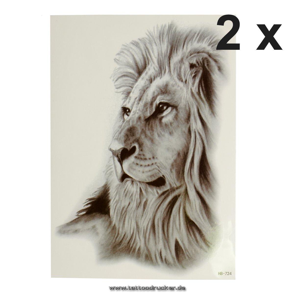 1 x liegender Löwe - Lion - Gesicht - schwarzes XL einmal Haut Tattoo - HB724 (1) TMP Löwe-HB724-1