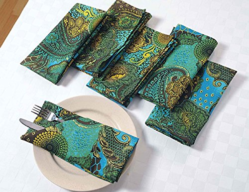 Cotton Napkins Set of 6; Colorful Green Yellow Blue Floral P