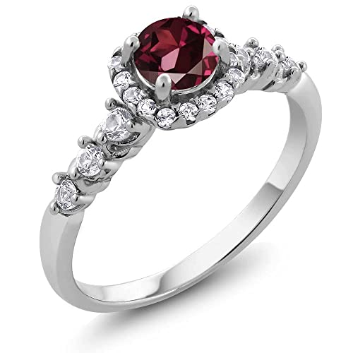 Gem Stone King 925 Sterling Silver Red Rhodolite Garnet White Created Sapphire Women s Ring 1.06 Ct Available 5,6,7,8,9